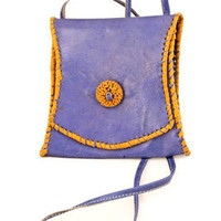 Periwinkle African Leather Handbag with Rosette | HANDBAGS & TOTES