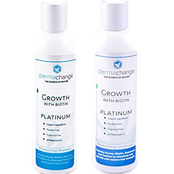 DermaChange Hair Growth Shampoo and Conditioner Set - With Vitamins - To Make Hair Grow Fast - Argon Oil and Biotin To Support Regrowth - Reduce Thinning and Hair Loss For Men and Woman (Small 4oz)