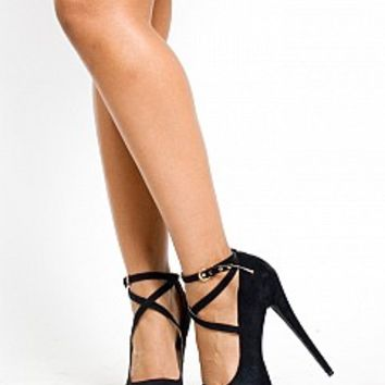 GL14014-9-4 Strappy Buckle Stiletto Heels from Bare Feet Shoes