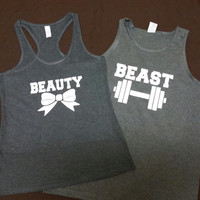 Couples Beauty and The Beast Work Out Tank Tops, Couples Fitness Beauty and Beast Tank Tops, Couples Gym Shirts
