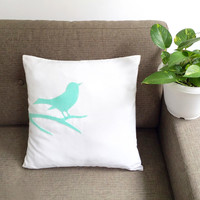 Pick Your Color. Mint Bird On Branch White Decorative Pillow Cover. 17inch Modern Bird Cushion Cover. New Home Gift. Home Decor