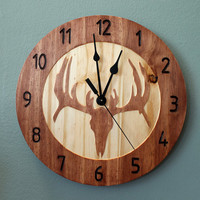 Deer skull clock Wood clock Nature clock Wooden wall clock Hunting decor Hunting gift Cool clock Home clock Deer decor Deer antler