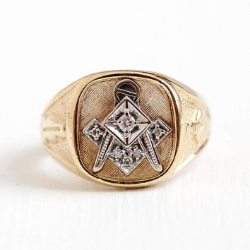 Vintage Mason Ring - 10k Rosy Yellow & White Gold Genuine Diamond Signet - 1950s Size 10 1/2 Men's Statement Two Tone Fraternal Fine Jewelry
