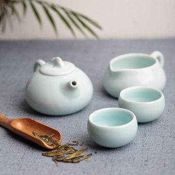 Kung Fu 4 Pc Tea Set Chinese Travel Ceramic Portable Gift Box Celadon Teacup Teapot Tea Cup Tea Sets