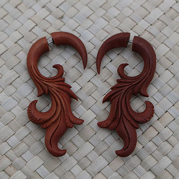 Saba Fake Gauge Earrings, Organic Earring, Wood Hand Carved Fake Piercing Earrings
