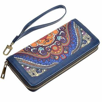 HAWEE Long Clutch Wallet PU Leather Zipper Purse with Wristlets for Card Cellphone Coin Cash