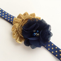 Girls Headband - Navy and Gold Headband for Girl - Newborn Headband -Boutique Headband for Baby -Navy and Gold Polka Dot Headband Photo Prop