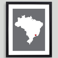 My Heart Resides In Brazil Art Print - Any City, Town, Country or State Map Customized Silhouette Gift