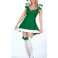 Sexy Adult Womens Christmas XMAS Costumes Mrs.Claus Santas Helper Green Elf Costume Dress Theme Par