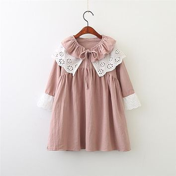 Hurave Baby Girls Lace Embroidered Dress Clothes Children long Sleeve Dress Kids turn-down Collar princness Dresses