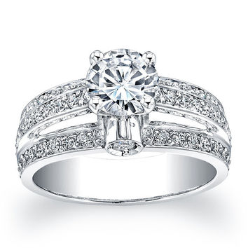 Ladies Platinum diamond pave cathedral engagement ring 1ct Round White Sapphire Center and 0.66 carats G-VS2 diamonds