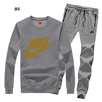 NIKE winter new men's casual running sportswear plus velvet two-piece #4