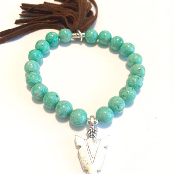 Fringed Suede Sea Green Fossil Stone Arrowhead Bracelet-Stretch