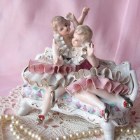 Porcelain Victorian Sisters on Couch Figurine/ Home Decor/ Shabby Chic/ French Decor