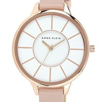 Anne Klein Round Slim Leather Strap Watch, 38mm