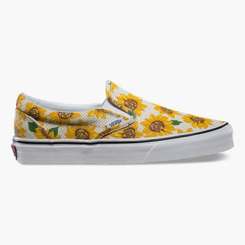 Vans Sunflower Classic Womens Slip-On Shoes Yellow Combo  In Sizes