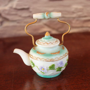 Miniature Blue and White Tea Kettle, Floral Design, Collectible, Home Decor