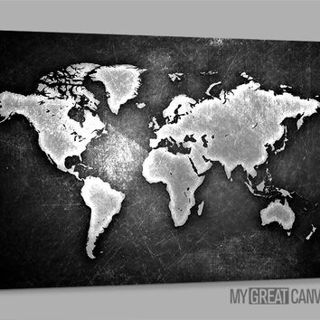 Metalic Black and White World Map Large Wall Art Canvas Prints | Wall Art Map Canvas | Large Size World Map Canvas Painting