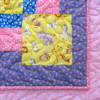 Toddler Bed Quilt Girl Baby Blanket Patchwork Baby Crib Quilt Noahs Ark Nursery