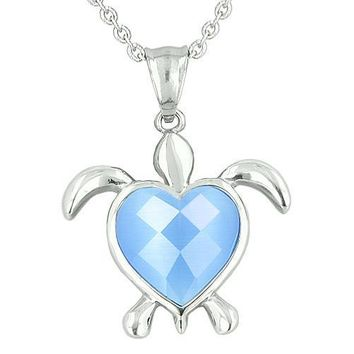 Lucky Charm Turtle Heart Powers Amulet Candy Blue Cats Eye Faceted Gemstone Magic Pendant Necklace