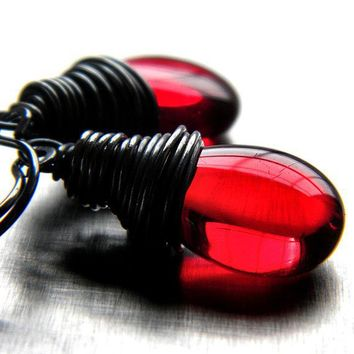 Earrings Scarlet Red Glass Teardrop Oxidized by GlitzGlitter