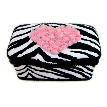 Zebra and Light Pink Heart Roses Nursery Baby Wipes Case for Room