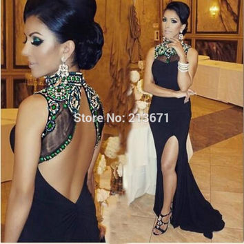 Fashion New Arrival Halter Black Long Evening Dresses 2016 Robe De Soiree Backless Mermaid Arabic Women Prom Dresses S7030402