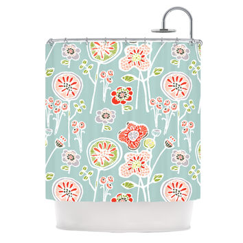 "Gill Eggleston ""Folky Floral Light Jade"" Blue Teal Shower Curtain"