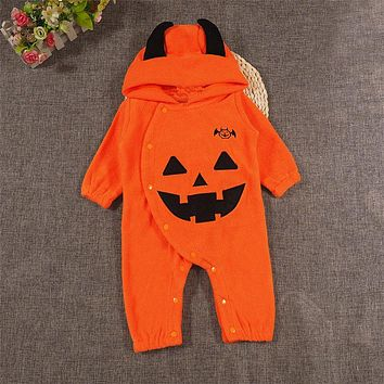 Halloween Newborn Baby Autumn Hooded Romper Newborn Kids Baby Boy Girls Long Sleeve Rompers New Arrival Jumpsuit Outfits