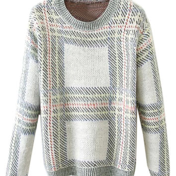 Multi Plaid Long Sleeve Knit Sweater