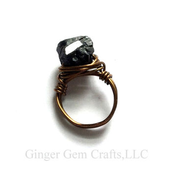 Tourmaline ring, tourmaline, black tourmaline, handmade, tourmaline jewelry,  wire wrapped ring, choose size and material