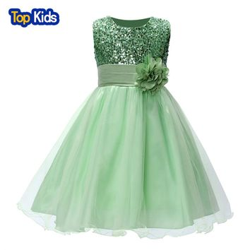 summer christmas cute girls flower dress sequined mesh girl clothes sleeveless dress costume girls kids princess girl