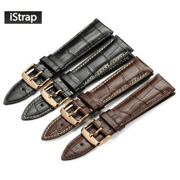 iStrap 18mm 19mm 20mm 21mm 22mm Watch Strap Genuine Leather Watchband with Rose Gold Pin buckle Watch Bracelet Belt for Tissot