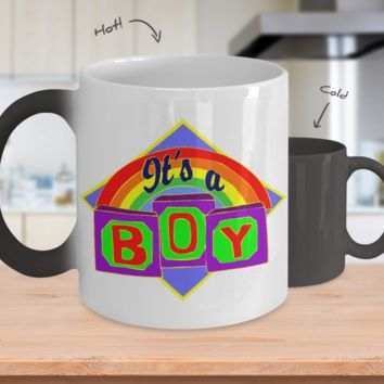 Gender Reveal Color Changing Coffee Mug-Boy Rainbow