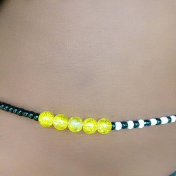 Yellow Black White Scented Waist beads Belly Dance Belt Binbin waistbeads