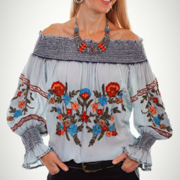Honey Creek by Scully Blued Peasant Top