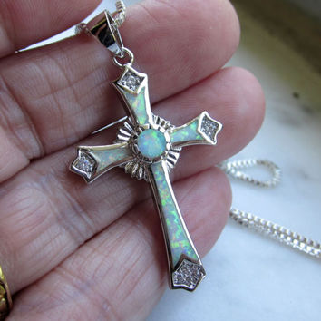 CLEARANCE lc opal crucifix opal jewelry sterling silver cross religious crystal crucifix opal vintage opal crucifix religious artifact