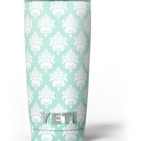 The Mint Green Decorative Pattern Yeti Rambler Skin Kit