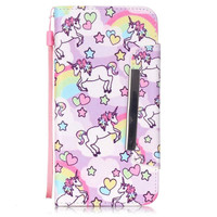 KAWAII Unicorn Flip Case Wallet for iPhone