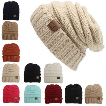 Winter Knitted Wool Beanies Unisex