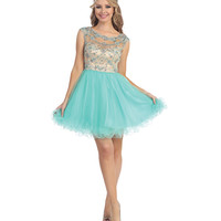 Mint & Nude Sheer Open Back Beaded Chiffon Dress 2015 Homecoming Dresses