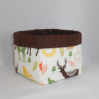 Cute Fabric Basket Made With Green, Orange and Brown Forest Inspired Fabric For Storage Or Gift Giving