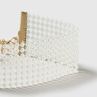 Wide Pearl Mesh Choker - Jewelry - Bags & Accessories