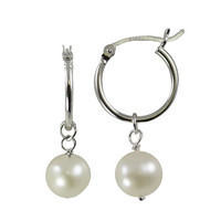 8-9mm Freshwater Pearl Drop Hoop Earrings 1 Pair
