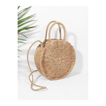 Lara Round Straw Cross Body Purse