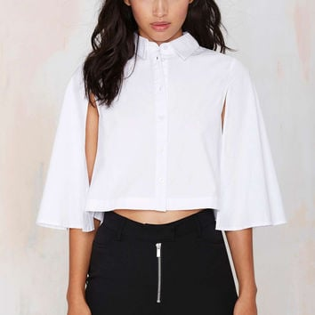 White Button Collared Crop Shawl Cape