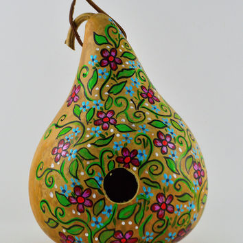 Floral Painted Gourd Birdhouse Perfect for Garden and Bird Lovers!