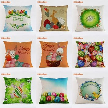 cushion decorative pillows Green plant rabbits Colored eggs 2018 new Year Easter gift pillowcases almofada cojines