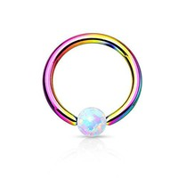 BodyJ4You Tragus Earring 16G Created-Opal Ball Rainbow Cartilage Piercing Jewelry