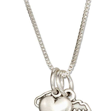 """STERLING SILVER 18"""" MICHIGAN STATE PENDANT NECKLACE WITH HEART CHARM"""